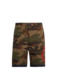 Moncler Camouflage Print Cotton Shorts Green Multi