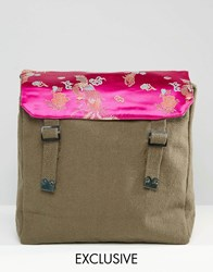 Reclaimed Vintage Military Backpack With Satin And Floral Top Green