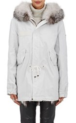 Mr And Mrs Italy Women's Fur Trimmed Fur Lined Midi Parka White