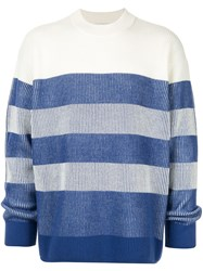 Ck Calvin Klein Striped Long Sleeve Jumper White