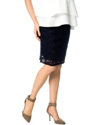 A Pea In The Pod Maternity Lace Pencil Skirt Navy