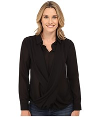 Bobeau Cross Front Blouse Black Women's Blouse