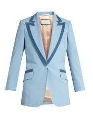 Gucci Peak Lapel Long Line Blazer Blue