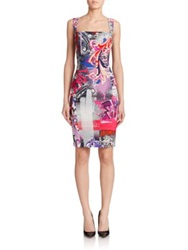 Versace Embellished Graffiti Print Sheath Multi