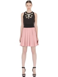 Stefano De Lellis Two Tone Embellished Pleated Crepe Dress