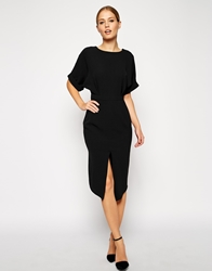 Asos Wiggle Dress With Wrap Back And Split Front Black