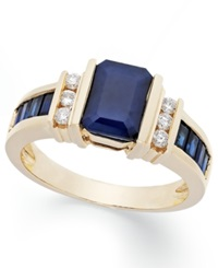Effy Collection Effy Sapphire 2 1 4 Ct. T.W. And Diamond 1 6 Ct. T.W. Ring In 14K Gold Blue