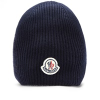 Moncler Ribbed Logo Beanie Navy