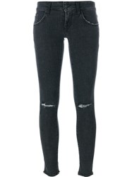 People People Destroyed Knee Skinny Jeans Black