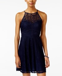 Amy Byer Bcx Juniors' Lace Illusion Fit And Flare Dress Navy
