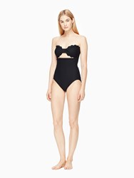 Kate Spade Marina Piccola Scalloped Cut Out Bandeau One Piece Black