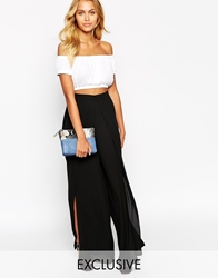 Love Wrap Front Palazzo Trousers Black