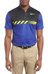 Nike Men's Fly Framing Block Golf Polo Deep Night Black Flt Silver