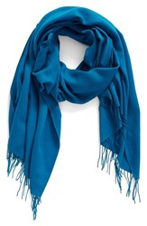 Nordstrom Women's Tissue Weight Wool And Cashmere Scarf Teal Ocean
