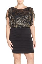 Plus Size Women's Sangria Metallic Blouson Shutter Pleat Sheath Dress
