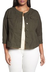 Sejour Plus Size Women's Collarless Trucker Jacket Olive Sarma