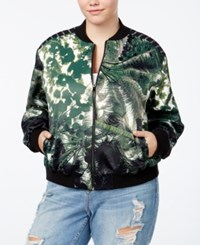 Rachel Roy Curvy Trendy Plus Size Printed Bomber Jacket Hunter Combo