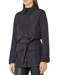 Reiss Dale Short Trench Coat Navy