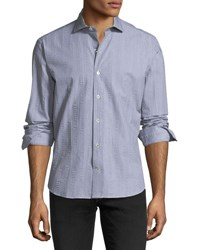 Culturata Crinkle Stripe Cotton Sport Shirt Black