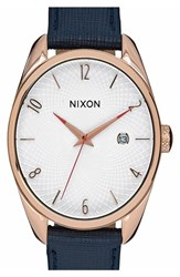 Nixon Women's 'Bullet' Guilloche Dial Oval Leather Strap Watch 38Mm