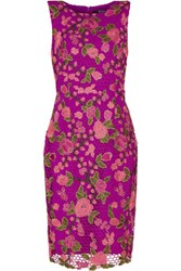 Badgley Mischka Layered Floral Embroidered Lace Jersey Dress Multi