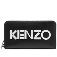 Kenzo Leather Logo Continental Zip Wallet Black