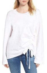Stateside Gathered French Terry Sweatshirt White