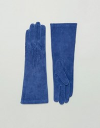 Lavand Long Leather Gloves Blue