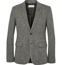 Saint Laurent Grey Slim Fit Leather Elbow Patch Herringbone Wool Tweed Blazer Gray