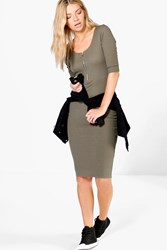 Boohoo D Ring Zip 3 4 Sleeve Midi Bodycon Dress Moss