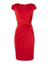 Episode Knot Front Jersey Dress With Exposed Zip Red