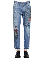 Dolce And Gabbana 16.5Cm Printed Destroyed Denim Jeans