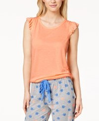 By Jennifer Moore Ruffle Cap Sleeve Tee Created For Macy's Orange Toucan