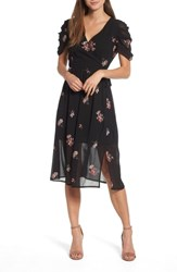 Lost Ink Floral Embroidered Wrap Midi Dress Black