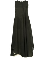 Song For The Mute Flared Asymmetric Dress Green