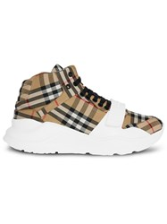 Burberry Vintage Check High Top Sneakers Yellow And Orange