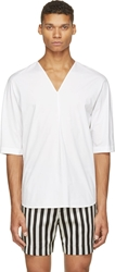 3.1 Phillip Lim White Poplin V Neck T Shirt
