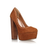 Carvela Ariel Block Heel Platform Court Shoes Tan