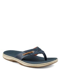 Sperry Baitfish Leather Thong Sandals Navy