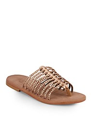 Joie A La Plage Sahara Braided Metallic Leather Sandals Rose Gold