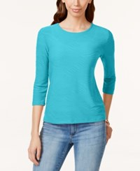 Jm Collection Petite Three Quarter Sleeve Jacquard Blouse Only At Macy's