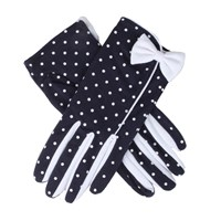 Dents Ladies Spotted Cotton Glove Navy And White