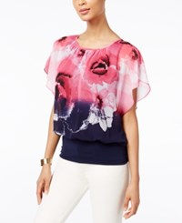 Jm Collection Printed Flutter Sleeve Top Only At Macy's Multi Dip Dye