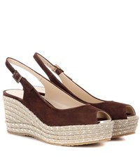 Jimmy Choo Praise Suede Wedge Sandals Brown