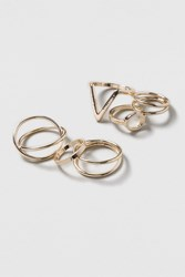 Topshop Mega Geo Rings Pack Gold