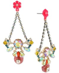 Betsey Johnson Two Tone Multi Crystal And Flower Drop Earrings Pink