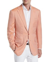Stefano Ricci Solid Two Button Jacket Orange