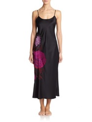 Natori Floral Embroidered Long Gown Black Multi