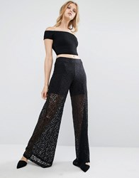 Mango Wide Leg Lace Cut Trousers Black