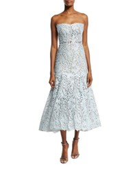 Monique Lhuillier Strapless Chantilly Lace Tea Length Dress Sky
